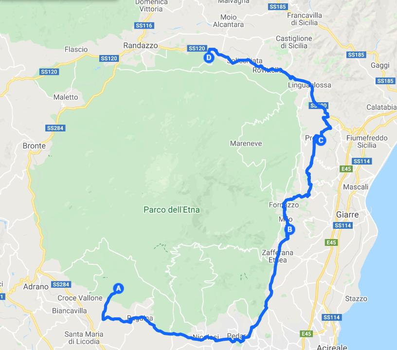 mappa 4 versanti tour vino